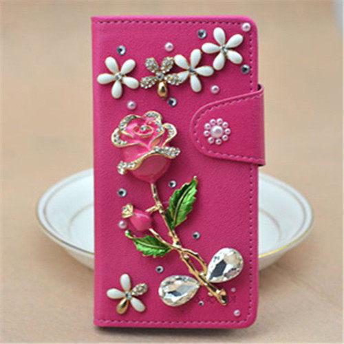 俏魔女美人館HTC ONE E8玫紅紅玫瑰皮套水鑽保護殼翻蓋套貼鑽手機套保護殼保護套