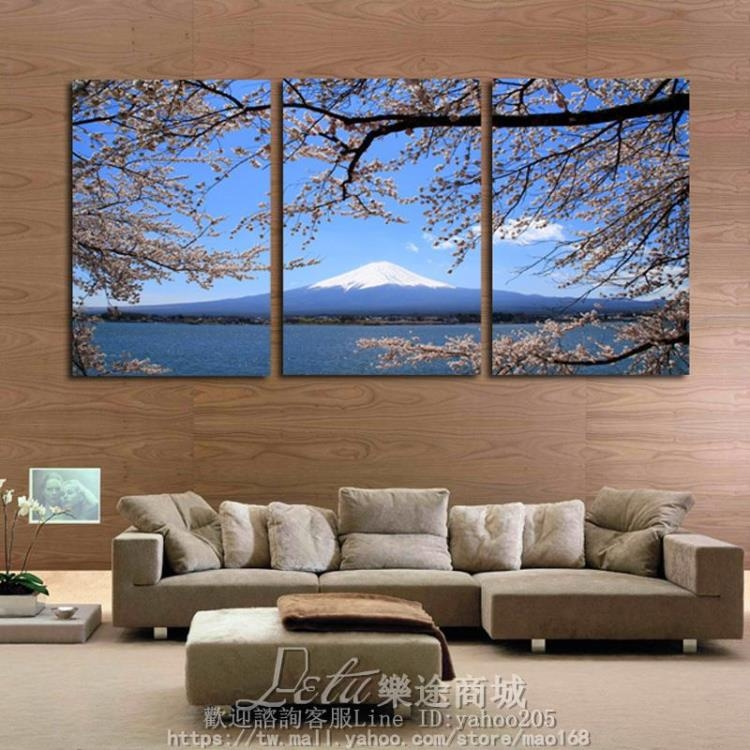 日式無框墻壁畫三聯裝飾畫日富士山櫻花30公分三幅SP-68030