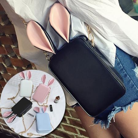 兔子耳朵鏈條單肩斜背手機包4色F929145部分現貨