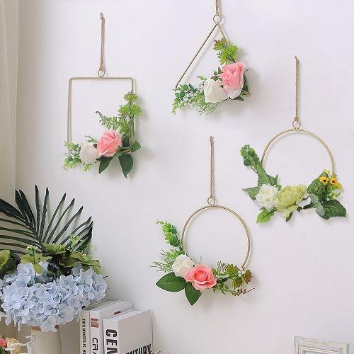 北歐仿真植物掛飾 鐵藝吊飾 創意空中掛飾 牆面裝飾