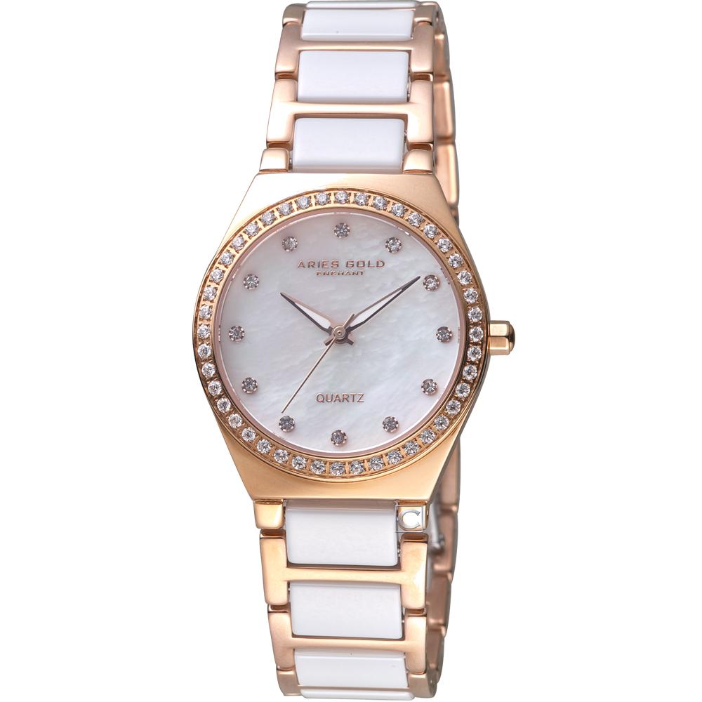 Aries Gold雅力士 陶瓷晶鑽腕錶 L58010L RG-BKMP