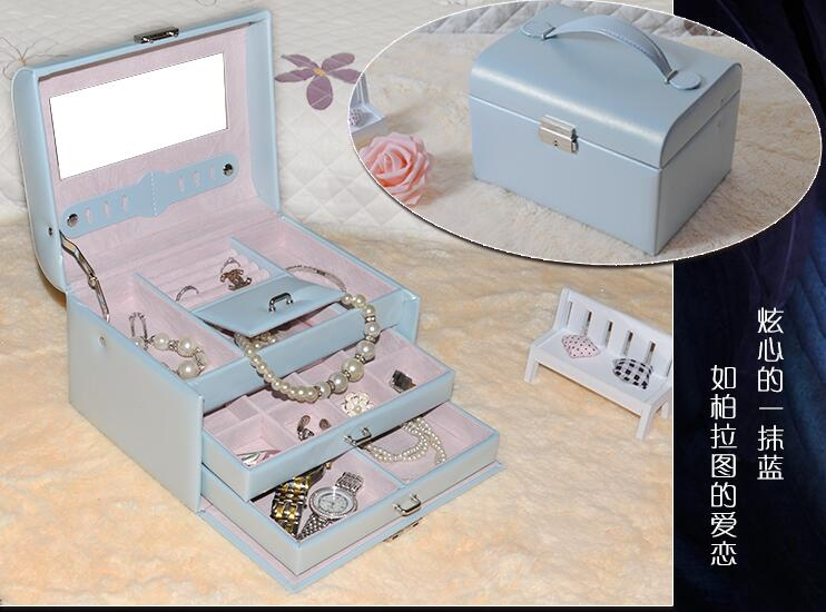 首飾盒皮革木質鏡面抽屜帶鎖多層首飾盒潮咖地帶