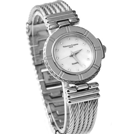 Valentino范倫鐵諾珍珠貝面鋼索鍊腕錶手錶藍寶石水晶鏡面柒彩年代NE1419原廠公司貨