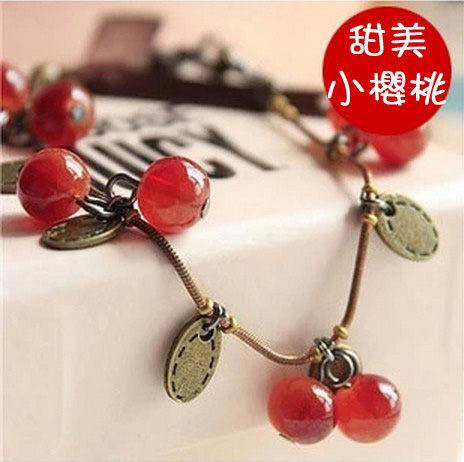 復古甜美小櫻桃 唯美手鏈 櫻桃 手鐲 玻璃材質【B3005】