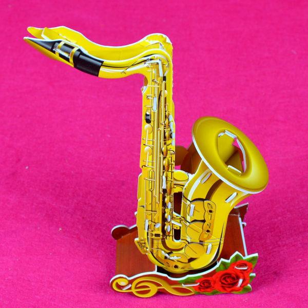 佳廷家庭親子DIY紙模型3D立體拼圖贈品獎勵品專賣店天籟之音袋裝樂器4薩克斯風Calebou卡樂保