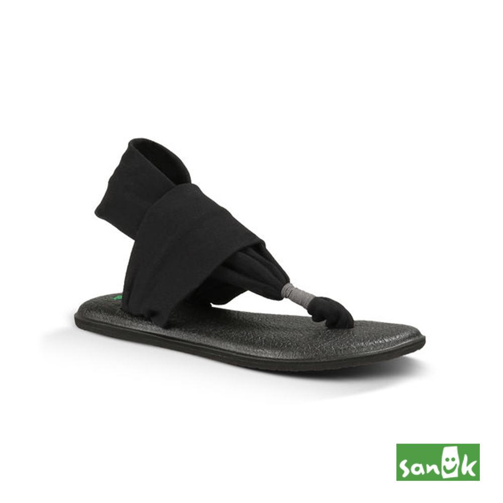 SANUK素面綁帶人字涼鞋-女款SWS10001 BLK黑色