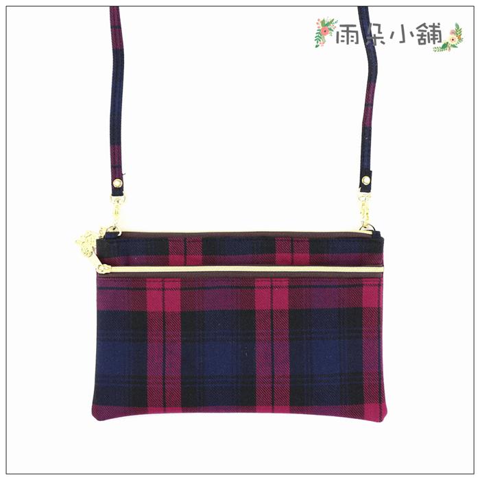 側背包包包防水包雨朵小舖M268-012經典雙拉側背-格紋紅01001 funbaobao