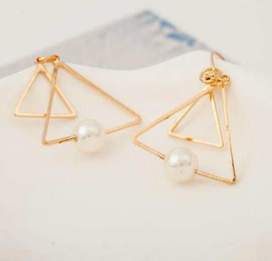 [Mini style] 耳環 歐美 極簡風 復古 雙三角形 珍珠 多層 耳釘 耳環 耳飾 精緻 時尚 高貴 氣質 時尚