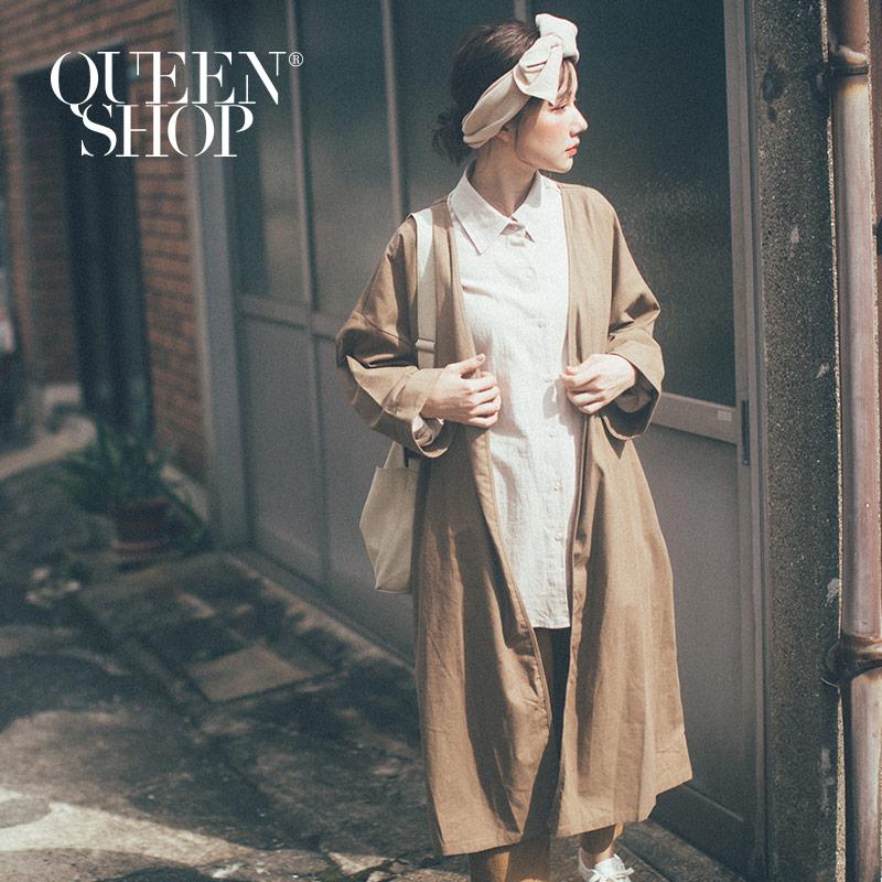 Queen Shop【02071126】棉麻長版罩衫附綁帶 兩色售*現+預*