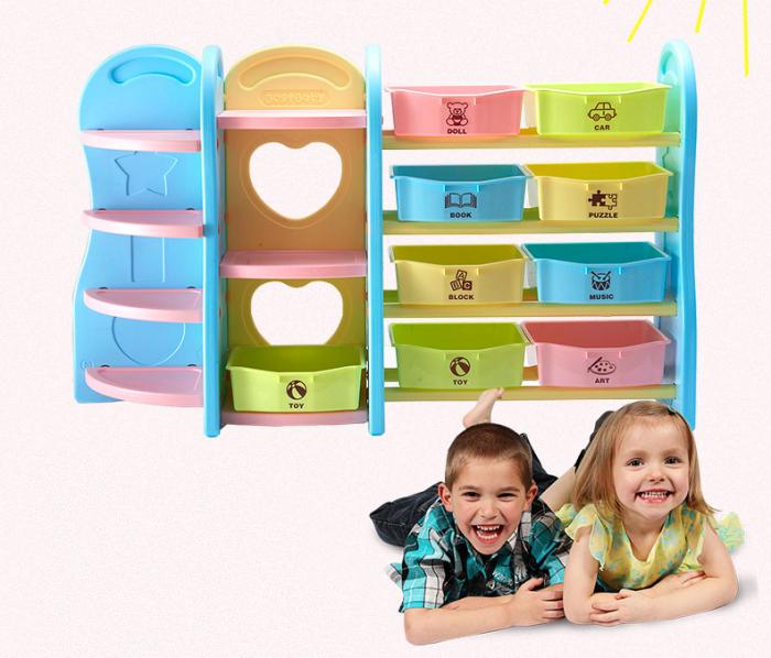 收納櫃層架書架BS-001多功能兒童玩具收納層架書架收納櫃-馬卡龍藍IDEA視覺概念