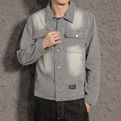 牛仔外套-直條紋日系文藝水洗做舊男丹寧夾克73pc18巴黎精品
