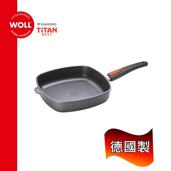 WOLL德國歐爾鈦鑽系列28cm鑄造不沾方型平底鍋1628TBB手把可快拆