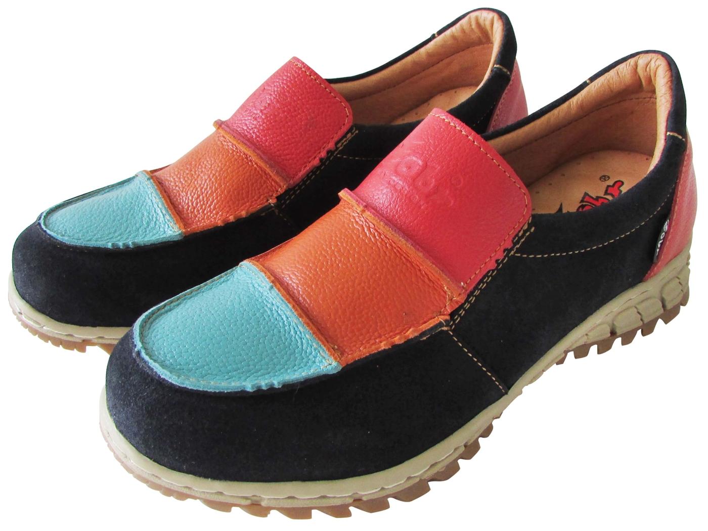 雙惠鞋櫃路豹Zobr彩虹拼貼女牛皮休閒鞋台灣製造TB81d藍彩
