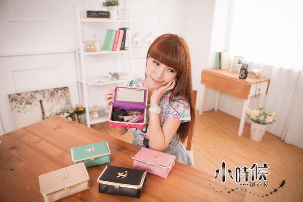 小時候創意屋韓風Cattia貓咪皮革五色珠扣化妝包化妝盒收納包