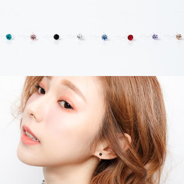 耳夾精巧亮眼水鑽透明夾式耳環無耳洞女孩柒彩年代NDK27