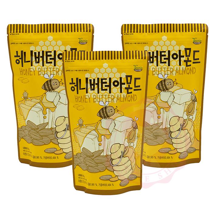 韓國Toms Gilim蜂蜜奶油杏仁果杏仁堅果核桃腰果進口零食250g庫奇小舖