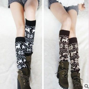 保暖毛線襪套 森林系雪花小鹿腿套 護腿堆堆襪套 靴套【B7027】
