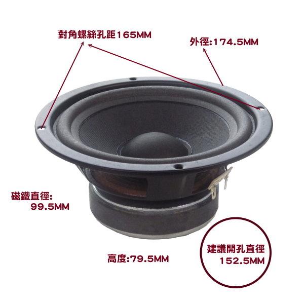 ANV【重低音單體6.5吋】阻抗8歐姆(SP-S060803SW)一個