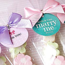 婚禮小物我的專屬吊牌棉花糖7顆小花贈送吊牌送客糖果二次進場迎賓禮幸福朵朵