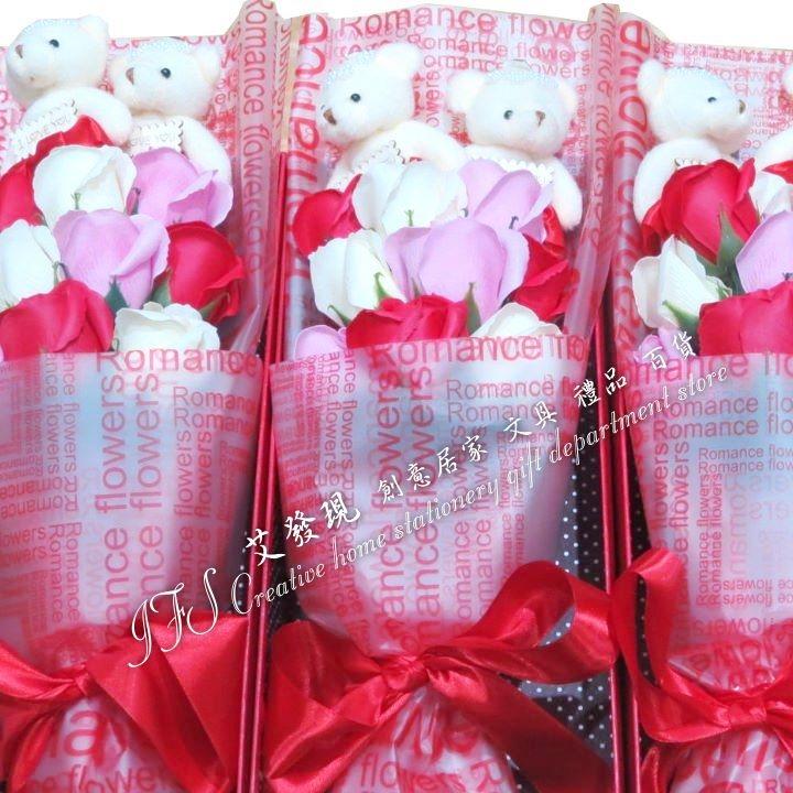 玫瑰花束畢業典禮小熊花束情人生日禮物-艾發現