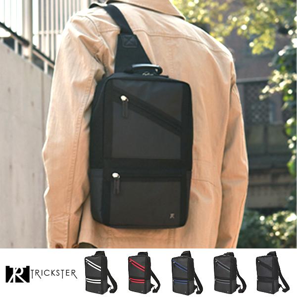 現貨TRICKSTER日本品牌防水斜背包腳踏車包A4單肩後背包多夾層機能tr1537黑色
