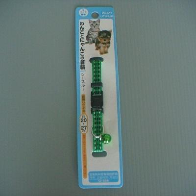 小貓狗可調式鈴鐺頸圈(綠色)/胸帶 /項圈/寵物用品