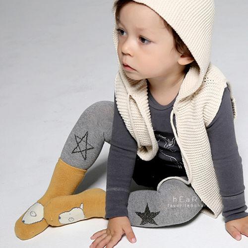 柔軟超彈力簡約棉質灰色星星塗鴉包腳褲襪 童襪 長襪 長褲 止滑襪 防滑襪 內搭褲