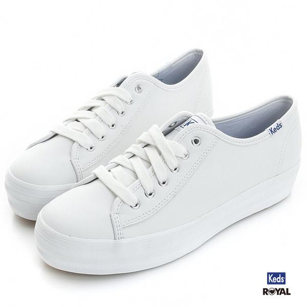 Keds新竹皇家TRIPLE KICK LTHR白色厚底3.5CM皮質休閒鞋女款NO.I7766
