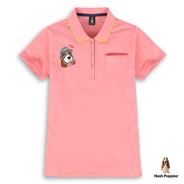 Hush Puppies 吸濕排汗POLO衫 女裝彩色造型滾邊短袖POLO衫
