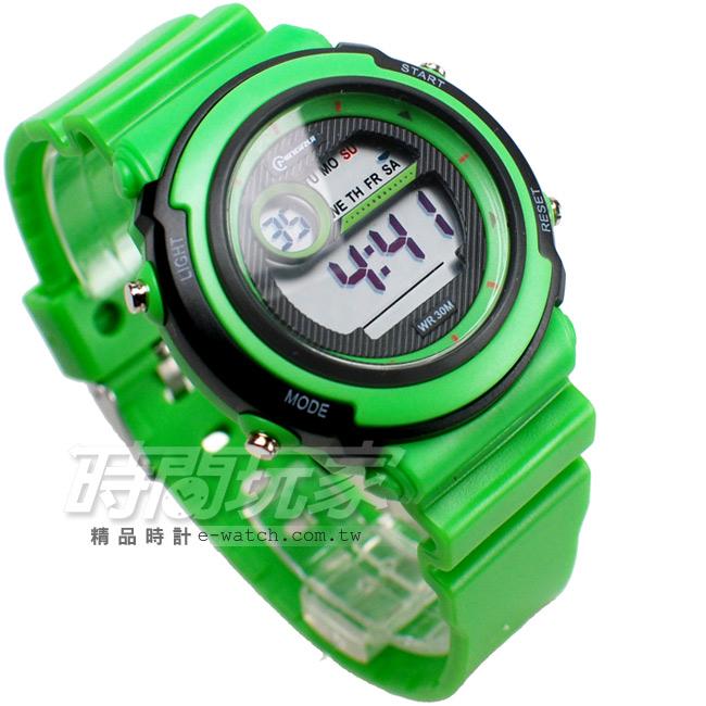 MINGRUI雙色配多功能計時腕錶學生電子錶兒童手錶女錶鬧鈴日期冷光照明MR8567綠