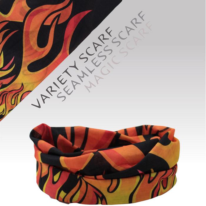 速乾 吸濕排汗材質 自行車頭巾/魔術頭巾/個性頭巾(1516-3 黑桔火焰)【戶外趣】