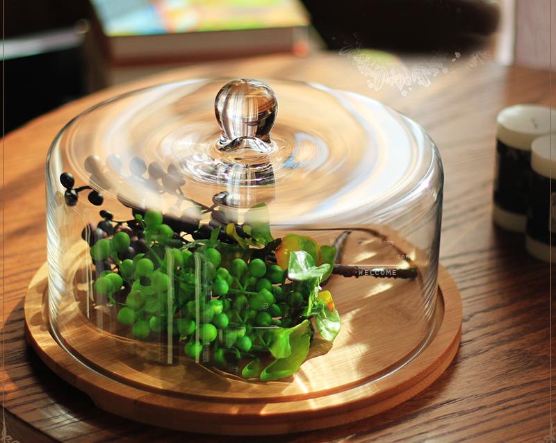 木製玻璃蛋糕罩浪漫下午茶點心玻璃罩蛋糕盤032667通販屋