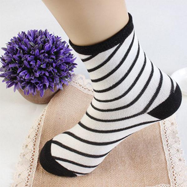 襪子FSW076黑白配個性創意千鳥格女襪短襪隱形襪氣墊襪純棉船型襪-SORT