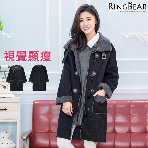 外套大衣-經典時尚北歐風格大翻領牛角釦QQ毛內裡雙口袋麂皮大衣黑XL-3L-J313眼圈熊中大尺碼
