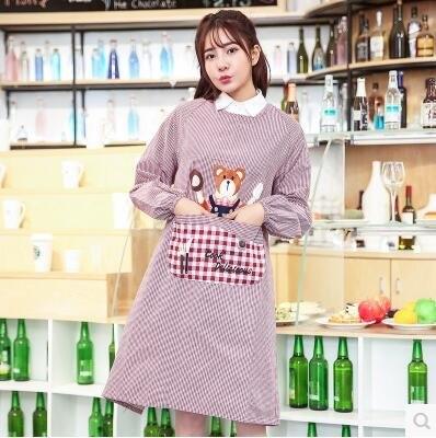 長袖圍裙韓版時尚套褂倒穿衣圍裙袖套成人廚房【下標留言要的顏色】