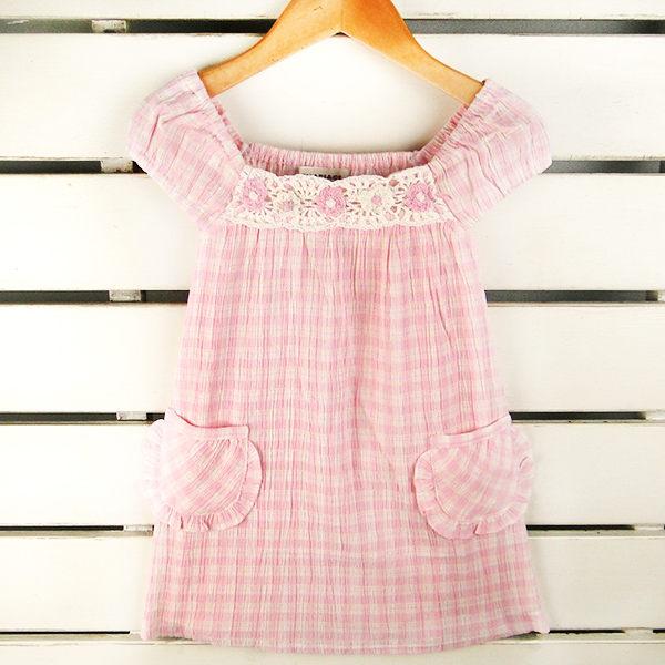 洋裝日單手工繡花高級純棉格子布洋裝2色100 110 120