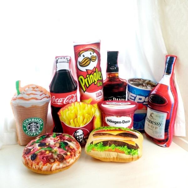 仿真惡搞食物 飲料 酒造型抱枕靠墊午睡枕 辦公室 餐廳 拍照道具 聖誕交換禮物 生日禮物(現 預)