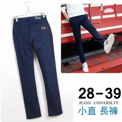 休閒褲韓版簡約深藍小直褲有彈性28~39腰151011-101牛仔大學M~4L