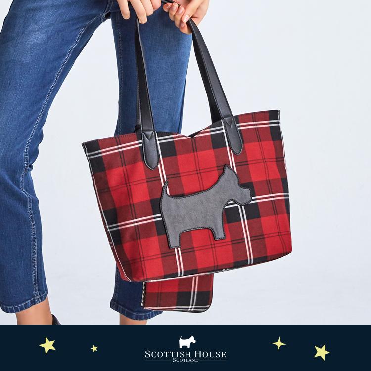 【紅黑格】格紋素色雙面托特包 Scottish House【AJ4101】