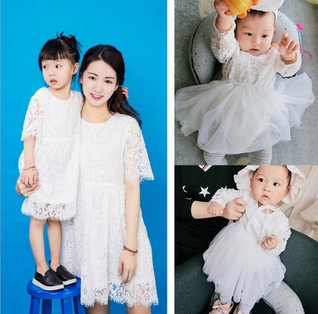 親子裝春裝2017韓版白色蕾絲連衣裙母女裝寶寶包屁衣送帽子