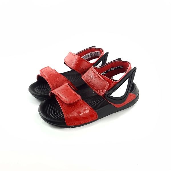 ADIDAS Spider-Man AltaSwim I 紅黑 蜘蛛人 魔鬼氈 涼鞋  《7 1童鞋》7262 紅色