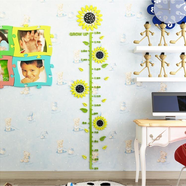 全館免運身高貼3D亞克力立體墻貼卡通兒童房幼兒園自粘寶寶測量身高尺裝飾tw