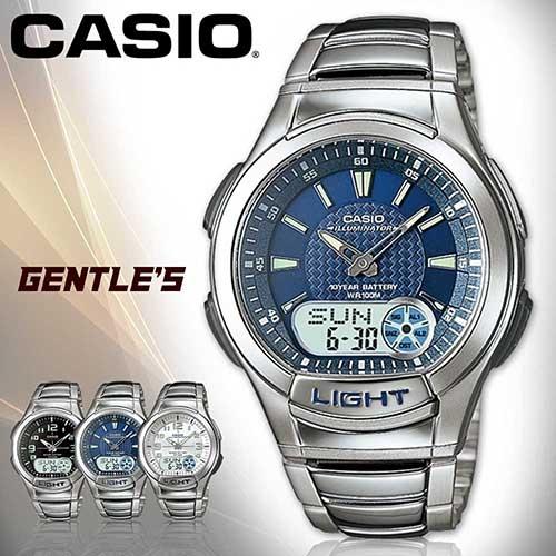 CASIO卡西歐手錶專賣店AQ-180WD-2A男錶雙顯錶藍面不繡鋼錶帶計時器10年電池貪睡LED電子照明