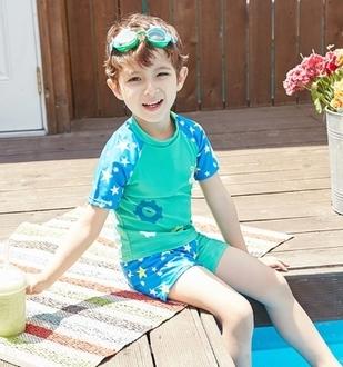 半島良品可愛機器人卡通星星男女童分體式兒童游泳衣褲