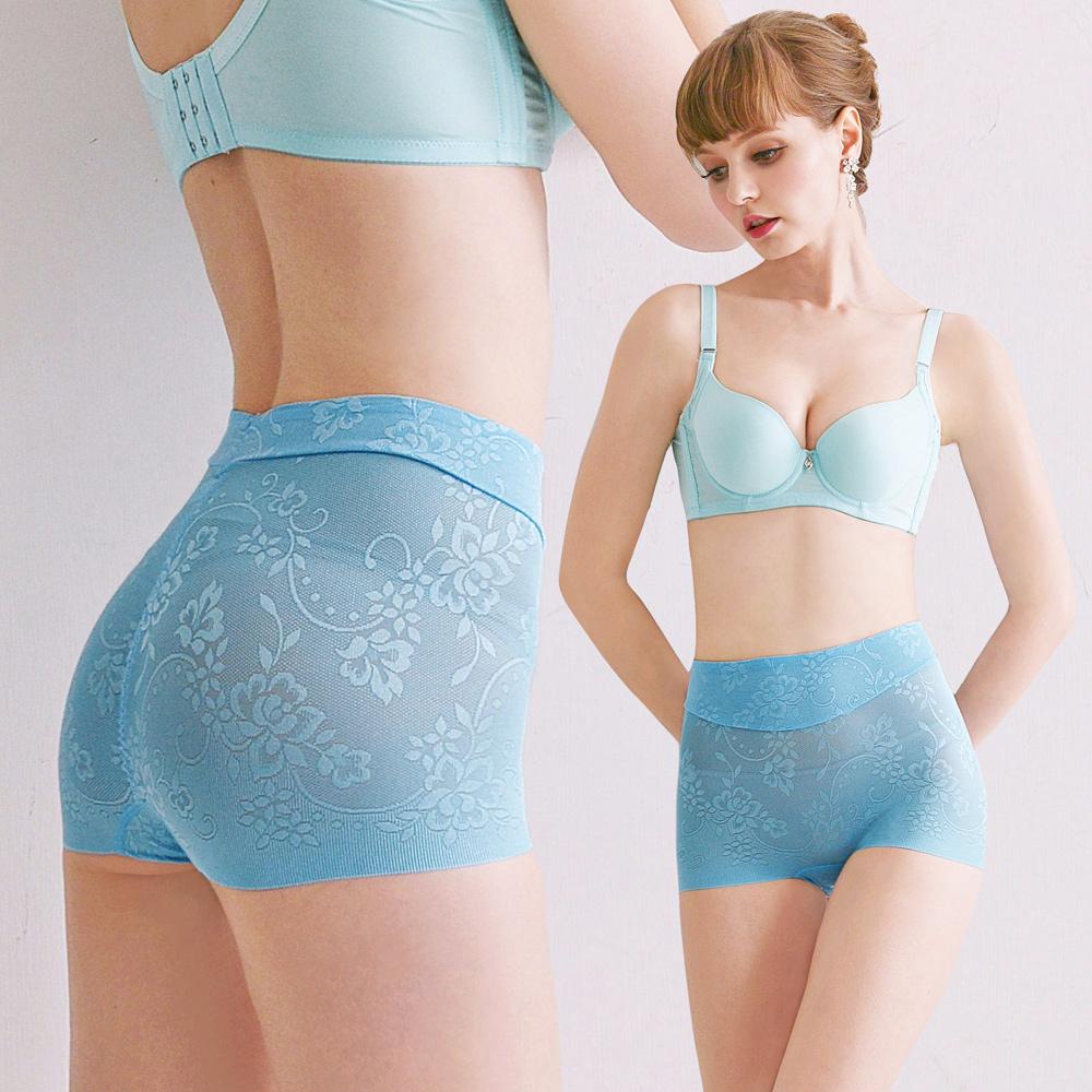 塑褲。蠶絲鎖邊無痕親膚性好貼身舒適平民價格貴族品味,腹部雙層加壓M~XXL(水藍)【Daima黛瑪】