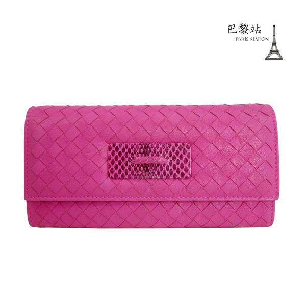 巴黎站二手名牌專賣店現貨Bottega Veneta BV真品經典編織桃紅色牛皮釦子長夾
