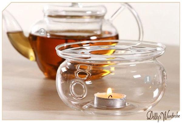 Dolly生活館高質感耐熱玻璃圓形加熱底座蠟燭溫茶器茶壺暖茶器20903