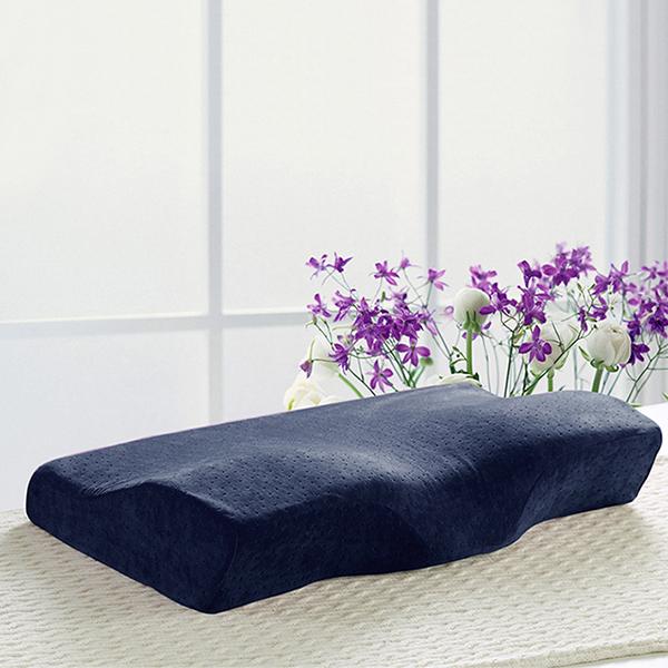 BELLE VIE 護頸 舒適型蝶型記憶枕【深藍】釋壓枕人體工學