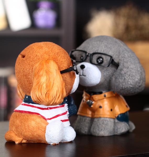 創意眼鏡小狗存錢罐萌物造型桌面樹脂零錢罐畢業禮物送同學預購CH231