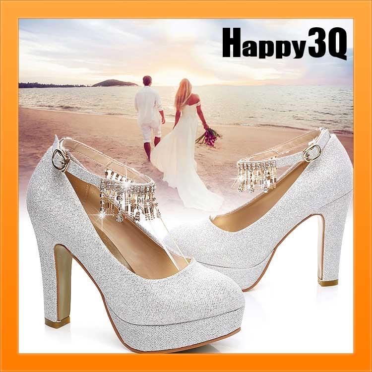高貴氣質新娘浪漫婚紗禮服伴娘亮片水鑽流蘇大尺碼婚鞋粗跟高跟鞋34-41【AAA0994】預購